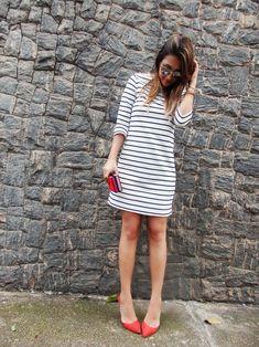 Confira meu look do dia no estilo náutico chic, com um vestido listrado lindo da ZARA!