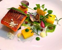 @CafeRoyalSJF - Seared Sea Trout, Clams, Spinch, Saffron Potatoes and Caper Beurre Blanc #feedyoureyes July/Aug