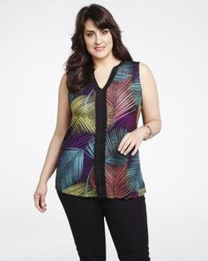 sleeveless printed top with pleats | Shop Online at Addition Elle
