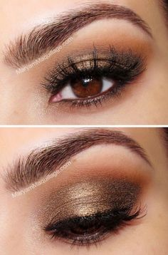 How to Rock Makeup fo… How-to-Rock-Make-up für braune Augen (Makeup Ideas & Tutorials) Ojos Color Cafe, Rock Makeup, Fall Makeup, Winter Makeup, Summer Makeup, Wedding Makeup For Brown Eyes, Simple Makeup For Prom, Makeup For Brown Eyed Girls, Smokey Eye For Brown Eyes