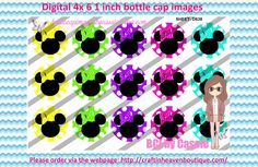 1' Bottle caps (4x6) Minnie heads D638  CARTOONS/KIDS BOTTLE CAP IMAGES #cartoons #inspired #kids #bottlecap #BCI #shrinkydinkimages #bowcenters #hairbows #bowmaking #ironon #printables #printyourself #digitaltransfer #doityourself #transfer #ribbongraphics #ribbon #shirtprint #tshirt #digitalart #diy #digital #graphicdesign please purchase via link  http://craftinheavenboutique.com/index.php?main_page=index&cPath=323_533_42_54