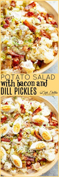 Potato Salad with Bacon & Dill Pickles Potato Salad with Bacon & Dill Pickles – Cafe Delites Best Side Dishes, Side Dish Recipes, Main Dishes, Asparagus, Broccoli, Cafe Delites, Cooking Recipes, Healthy Recipes, Easy Recipes
