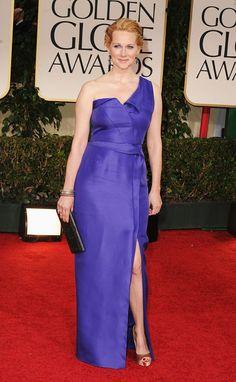 Laura Linney in J Mendel at the Golden Globes 2012