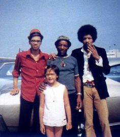 Vancouver airport 9/8/1968 -- brother Leon, father al, Jimi and the now notorious Janie (step sister to Jimi).