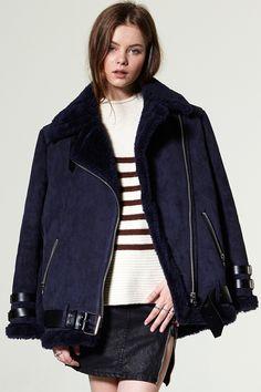 Carol Shearling Jacket Discover the latest fashion trends online at storets.com #Velvet Blouse  #Tweed Blazer  #