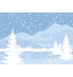 Winter mountain landscape with fir trees vector 2013784 - by oksanaok on VectorStock®