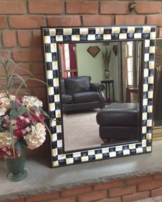 Hand painted black and white checked wall by paintingbymichele, $150.00