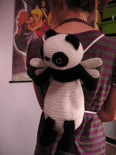 Crochet Panda Mini Backpack - no pattern Crochet Panda, Crochet Teddy, Crochet Bear, Crochet For Kids, Crochet Backpack, Backpack Pattern, Mini Backpack, Crochet Purses, Crochet Scarves