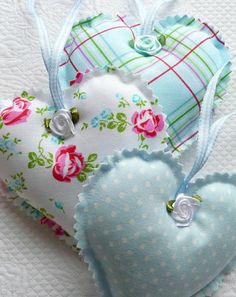 Shabby Chic Blue Polka Dot, Gingham, Floral Hanging Hearts, Ornament, Satin…