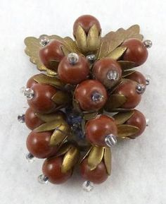 Miriam Haskell Brown Bead Dress Clip - Garden Party Collection Vintage Jewelry