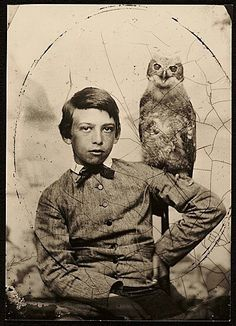 "gouchercollegelibrary: "" archivesofamericanart: "" Abbott Handerson Thayer and his owl are watching you. Abbott Handerson Thayer as a boy, ca. 1861 / Buckingham's Inc. Abbott Handerson Thayer and Thayer family papers, bulk. Antique Photos, Vintage Pictures, Old Pictures, Vintage Images, Old Photos, Vintage Owl, Foto Face, Archives Of American Art, Photo Vintage"