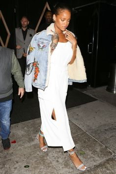 June 10, 2016  Suddenly our basic denim toppers feel so boring and plain. Rihanna wore the jacket of your blue jean dreams on Friday for a night at Bootsy Bellows in LA. Her boho embroidered Gucci jacket, casually draped over her shoulders, just shot to the top of our wish list. Now we just need to scrape together $4,950 for it—or find a really, really good dupe.