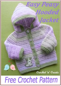 Simple, easy month baby hooded jacket, get the FREE baby crochet pattern on crochetncreate. Crochet Baby Cardigan Free Pattern, Boy Crochet Patterns, Crochet Baby Jacket, Crochet Baby Sweaters, Gilet Crochet, Baby Sweater Patterns, Crochet Baby Clothes, Baby Patterns, Baby Knitting