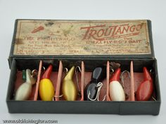 1920s Rush Tango 6 Pack Minnow Fly Rod Lure Box.