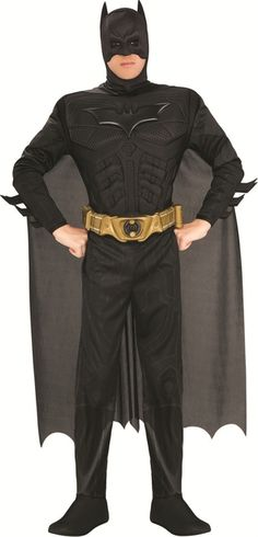 Dark Knight Batman Muscle Mens Costume - This is an awesome Batman costume from The Dark Knight Rises. Bruce Wayne's alter ego and protector of Gotham City. This is a three-piece costume with a suit, belt and mask. The suit is a one-piece moulded muscle costume designed after Batman's outfit in The Dark Knight Rises movie. The suit opens up from the back of the collar to be put on. The chest piece is stiff molded foam of Batman's muscular chest. #batman #yyc #superheroes #costume