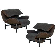 Rare pair of reclining Veranda lounge chairs by Vico Magistretti