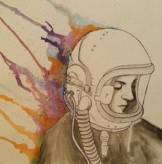 """Rainbow Space Lady Water Color & Ink 9""""x12"""""""