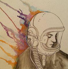 Rainbow Astronaut - Original Watercolor Illustration
