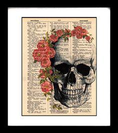 skull art print vintage dictionary art print book by goodsbygirl, $10.00