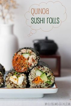 Quinoa Sushi Rolls with vegetable salad filling.