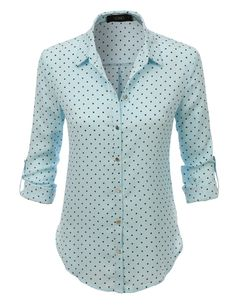 Fresh for spring, polka dots accented with shiny buttons refresh a lightweight blouse fashioned with roll-tab sleeves. Crafted from lightweight, soft material cut in a relaxed fit. This blouse top goes perfect with just anything. Feature 100% Polyester Lightweight, super soft material for comfort Full button down closure / Sheer Hi low hem / Adjustable roll up sleeves with single button closure Machine wash cold / Do not use bleach / Tumble dry / Warm iron if needed Please look at the…