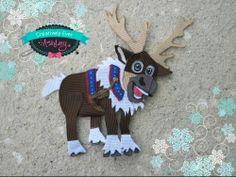 ONe of a Kind, OOAK sculpted Winter Frozen Reindeer sven inspired hair clip