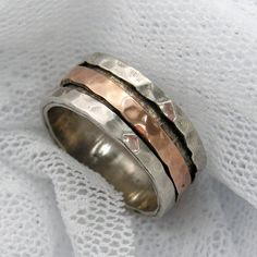 Sterling silver gold spinner ring. Rose gold by AtlanticSun