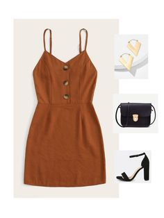 Cami Dress with High Heels, Black Crossbody Bag and Gold Metal Accessories! Sexy Night Outfit, Night Outfits, Suit Fashion, Womens Fashion, Fashion Fall, Dress Fashion, Black Crossbody, Crossbody Bag, Preppy