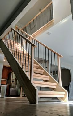 Stair Banister, Stair Risers, Modern Staircase, Staircase Design, Staircase Ideas, Arnold House, Open Stairs, Log Homes, Stairways