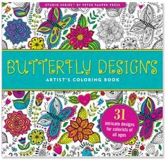 Butterfly Designs Coloring Book| underthecarolinamoon.com