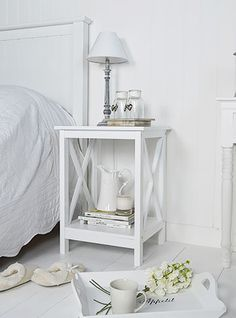 Henley White Bedside table. A perfect bedside table for a white bedroom