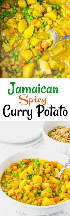 This Jamaican Spicy Potato Curry Vegan version is full of flavors, chunky potatoes are cooked in aromatic spices along with chickpeas, carrots and green peas. #vegan #jamaicanrecipes #glutenfree #currypotato #vegancurrypotato