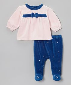Take a look at this Pink & Blue Velour Top & Footie Pants - Infant by Absorba on #zulily today!