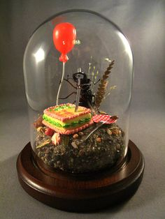 Beetle Cutting Birthday Cake, Miniature Insect Diorama by Lisa Wood