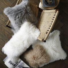 "Mongolian Lamb Pillow Cover - Stone White (12""x16"") | West Elm"