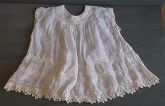 Antique Edwardian Victorian Childs Baby Christening Gown Dress Lace Embroidery