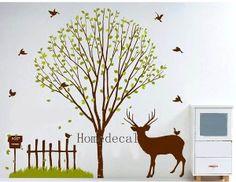 tree, deer, birds, grass, fence