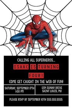 Free printable spiderman invitations birthday party invitation birthday invitations super hero party spiderman custom birthday invitations visit the image link more details filmwisefo