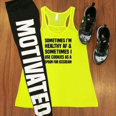 Funny fitness shirt with motivated leggings for working out