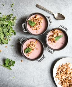 rhubarb panna cotta + strawberry coconut crunch (df+gf) — whats cooking good looking Vegan Panna Cotta, Coconut Panna Cotta, Whole Food Recipes, Dessert Recipes, Healthy Recipes, Strawberry Panna Cotta, Rhubarb Recipes, Spring Recipes, What To Cook