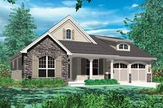 Nicely designed smaller home with vaulted Great Room (House Plan 48-102)