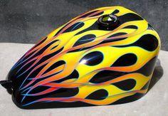 Gas tank Motorcycle Paint Jobs, Motorcycle Tank, Grim Reaper Tattoo, Motos Harley Davidson, Candy Red, Custom Paint Jobs, Airbrush Art, Pinstriping, Bike Art