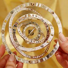 De Beers Talisman One of a kind piece. Yellow gold, color diamonds, rough diamonds