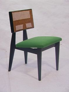 George Nelson; Cane and Painted Wood Side Chair, 1950s.
