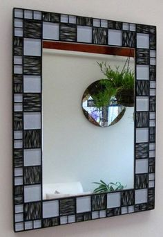 Handmade by Seller. This mirror is made on Ply backer board. Glass mosaic, colours as picture. Size x Centre mirror x . Mosaic band is .weighs finished in black grout and black edge band. All Approx I make handmade items in mosaic/driftwood/stain Mirror Tiles, Mirrored Picture Frames, Stained Glass Mirror, Glass Tile Crafts, Mirror Pattern, Mosaic Tiles, Mosaic Mirror, Mirror