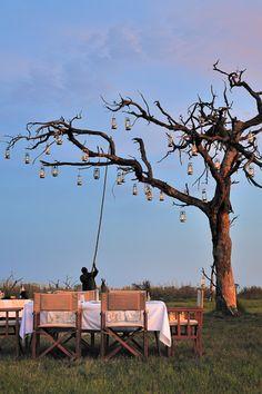 preparing bush dinner at Nxabega Tented Camp
