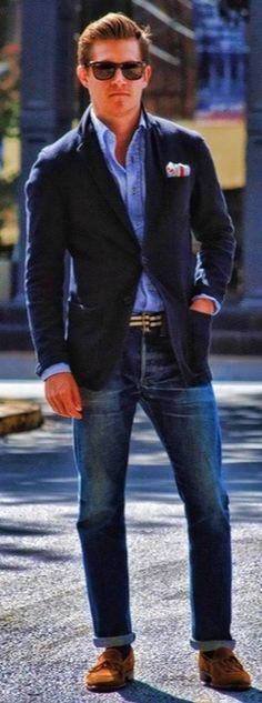 Navy Unlined Linen Jacket, Worn Fitted Jeans, and Brown Suede Loafers. Men's Spring Summer Fashion.