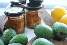 Bottle up extra feijoas and enjoy the flavours in the winter months. We've got feijoa chutneys, feijoa jams and feijoa jellies that make use of these delicious autumn fruits. - Eat Well (formerly Bite) Relish Recipes, Chutney Recipes, Jam Recipes, Lemon Recipes, Savoury Recipes, Fruit Recipes, Healthy Recipes, Homemade Crumpets