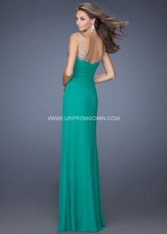 Kelly Green Long Side Slit Prom Dress by La Femme 19660