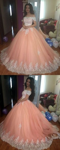 Elegant Lace Off The Shoulder Tulle Ball Gowns Quinceanera Dresses 2018 Coral Prom Dress